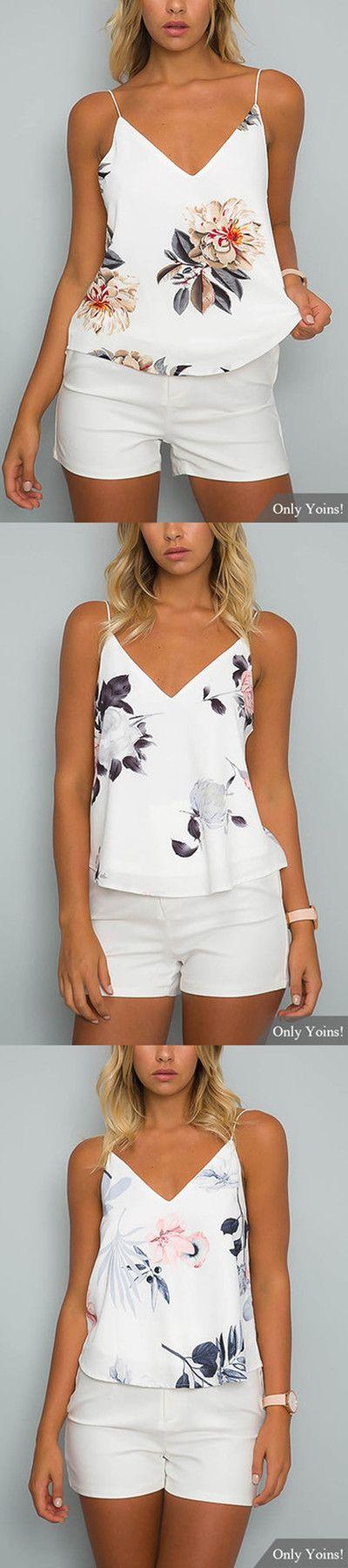White V-neck Random Floral Print Cami Top