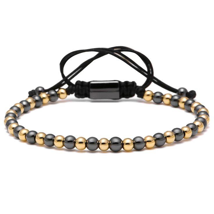 Mcllroy Famous Brand Double Color Men Bracelet 4mm Titanium Steel Round Beads Macrame Braided Bracelets For Men Women Gift