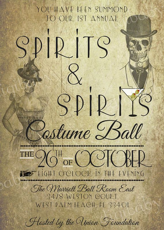 printable Spirits Halloween invitation costume by DigiBabyDesign