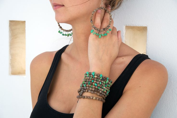 Grey Mary's Tears Seeds and Green Turquoise Earrings