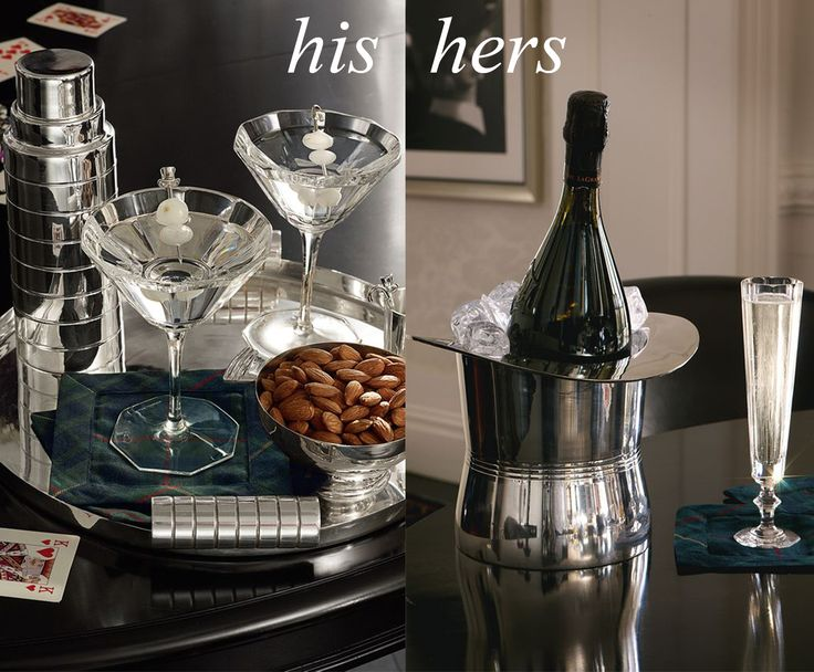 Ralph Lauren Montgomery collection - silver plated brass cocktail shaker& nut bowls with hand cut crystal martini glasses | Ralph Lauren Home's Top hat ice bucket & Celeste champagne flutes.