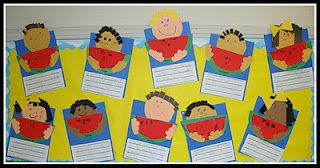descriptive writing - fun for end of year - bring watermelon for kiddos, have them write to describe, and create self-portraits and melon slices