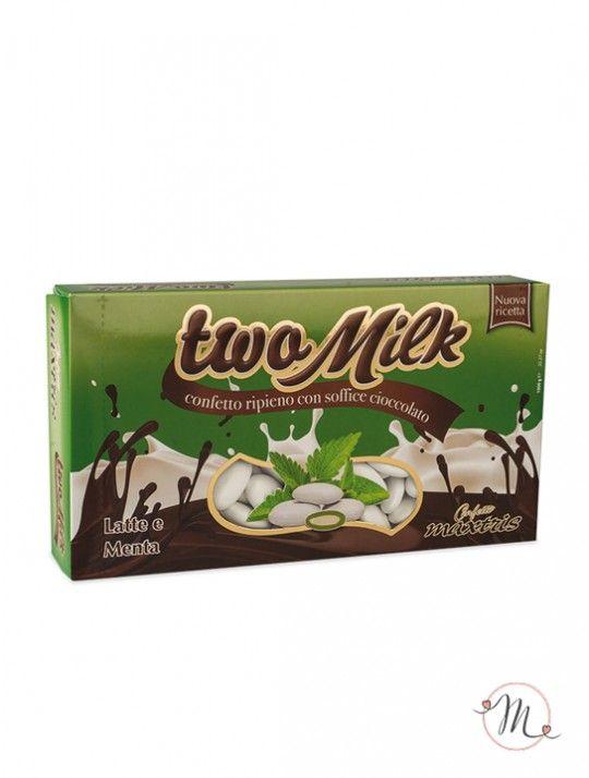 Confetti Maxtris Twomilk latte.  Anima di cioccolato bianco al gusto di latte e menta, ricoperta da un sottile strato di zucchero.  Confezione da 1 kg. Noi di Martha's Cottage siamo rivenditori autorizzati Maxtris. #confettata #confetti #matrimonio #weddingday #ricevimento #maxtris #wedding #sconti