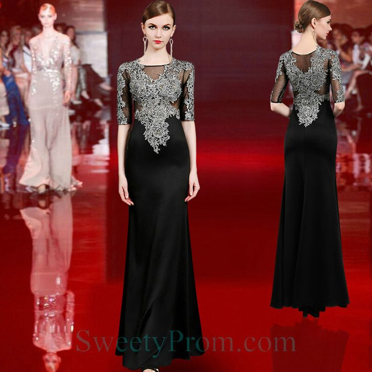 Embroidery Chiffon Black Evening Gowns With Half Sleeves ALS,Embroidery Chiffon Black Evening Gowns With Half Sleeves ALS