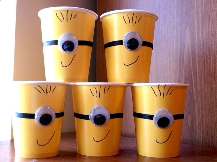 Minion Birthday Party Ideas: DIY Minion cups, pretty easy to do yourself. | Moms Saving Money