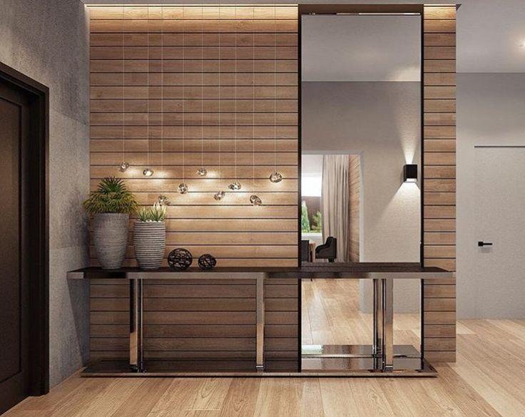 Muro vestibulo. Formato delgado. Espejo en marco metálico. Hall de entrada. #entrance #entryway #console