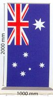 Australian Flag Pull Up Banner  Size: 2000mm x 1000mm with carry bag  Price:  Deluxe Base - $475.00 5 year guarantee Standard Base - $385.00 2 year guarantee made in Australia [exclusive from the free postage offer]