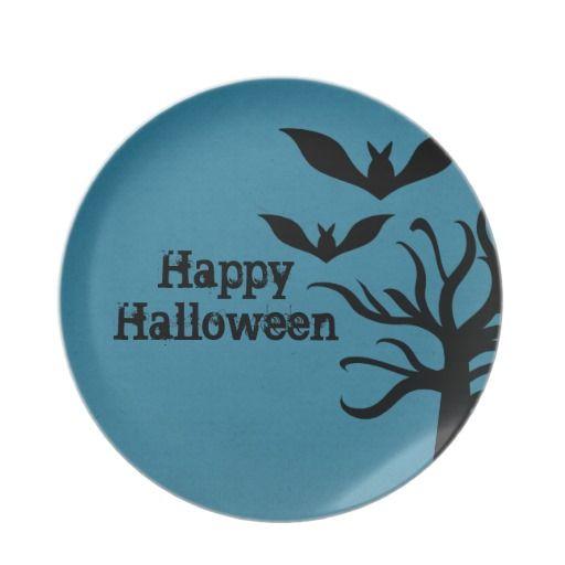 Eerie Bats Halloween Plate, Blue