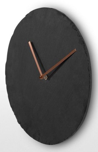 The Miner Wall Clock in Slate and Copper. Slate rock with natural ridges combined with sleek metal hands. £39 | MADE.COM