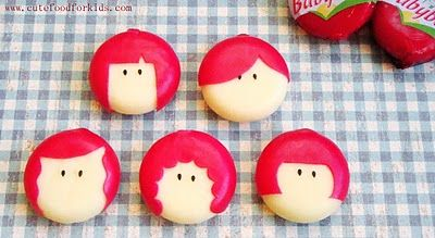 Mini Babybel Cheese Girls.  Great Site lots of cute ideas!  Cutefoodforkids.com