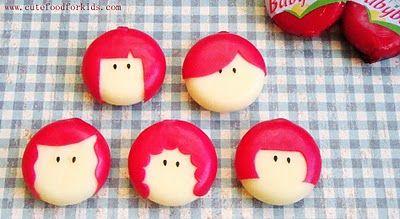 Mini Babybel Cheese Girls.  Great Site lots of cute ideas!  Cutefoodforkids.com