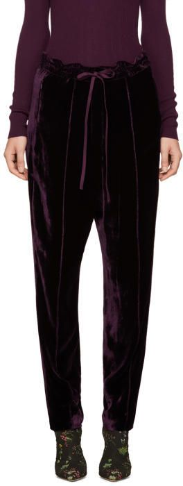 Nina Ricci Burgundy Velvet Tapered Trousers