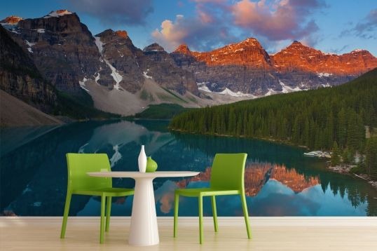This wall mural depicts these towers of natural beauty reflected in the crystal clear lakes below.