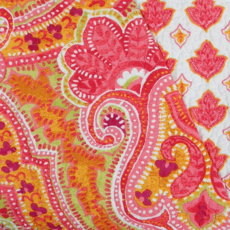CYNTHIA ROWLEY BATIK MEDALLION QUEEN QUILT NWT FULL PINK RED ORANGE LIME CORAL