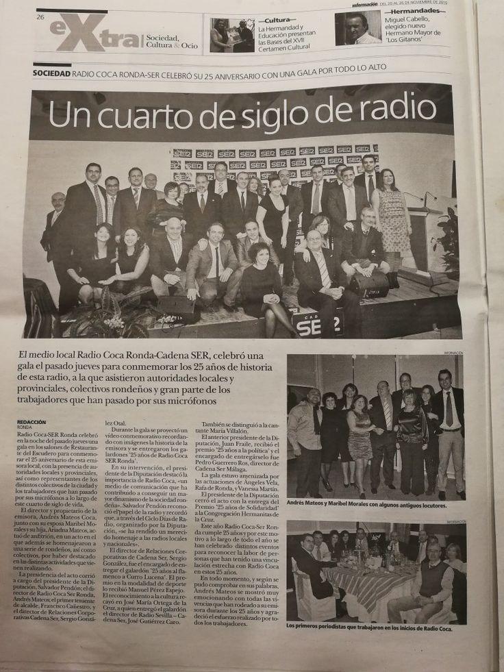 25 aniversario de Radio Coca Cadena Ser Ronda. Reunió de antiguos compañeros, aquellos jóvenes locutores.