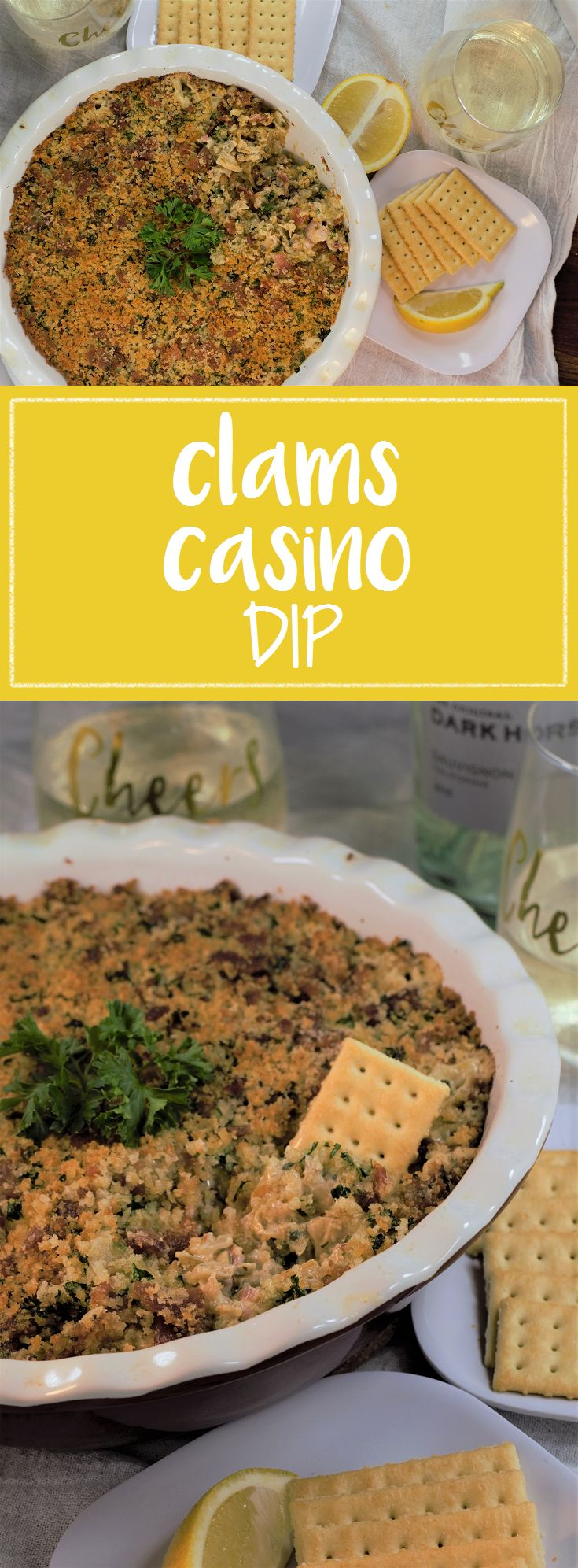 All the elements of the traditional open-faced version, baked into a savory dip at a fraction of the price.