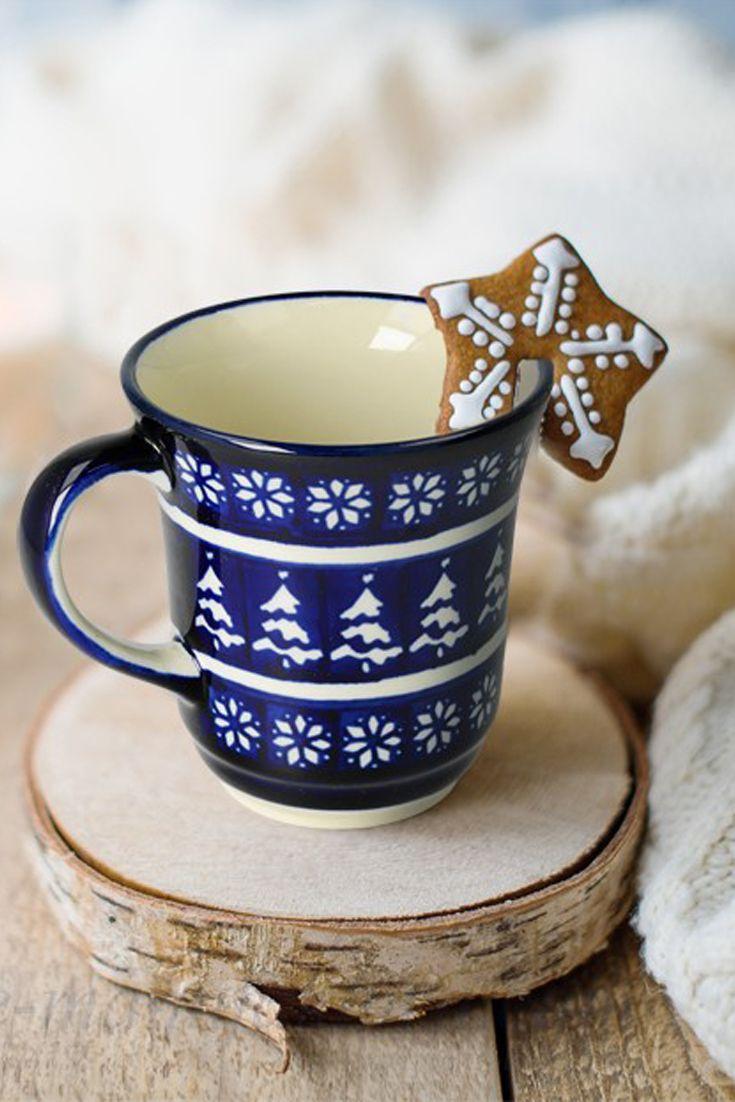 Winter mug   Perfect Christmas present Bolesławiec pottery