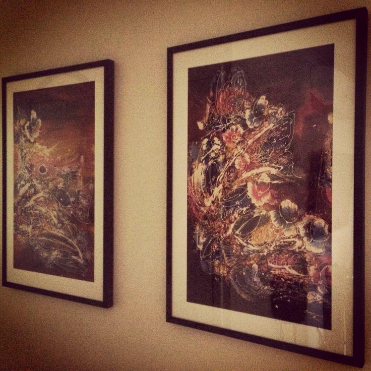 My batik silks finally framed & hung