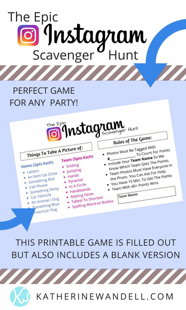 Instagram Scavenger Hunt Game- Perfect to play with your church youth group or with any teens. Would be great for a birthday party or just because. This fun and exciting game will leave you laughing while filling your intagram feed with a ton of hilarious photos!-Find more on KatherineWandell.com