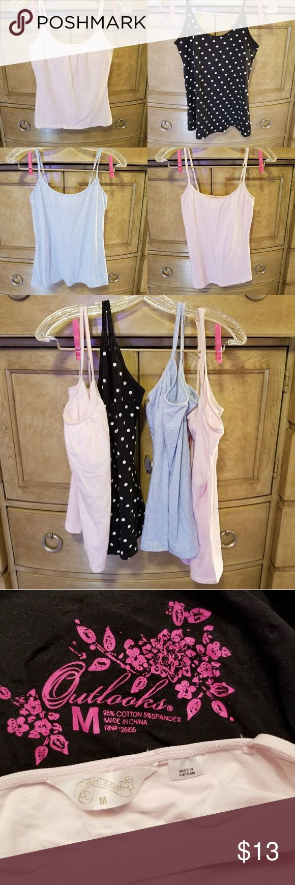 💐Bundle of 4 Cami Tops💐 Bundle of cami tops: 2 Outlooks & 2 Charlotte Russe, all size med. All with adjustable straps except the black with white polka dots & the pink Outlooks has a shelf bra & ruched front. All super cute & super comfy.💐 Tops