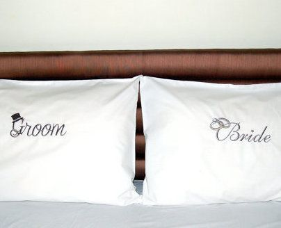 BRIDE/GROOM Wedding His and Hers bedding  by letsdecorateonline, $39.90