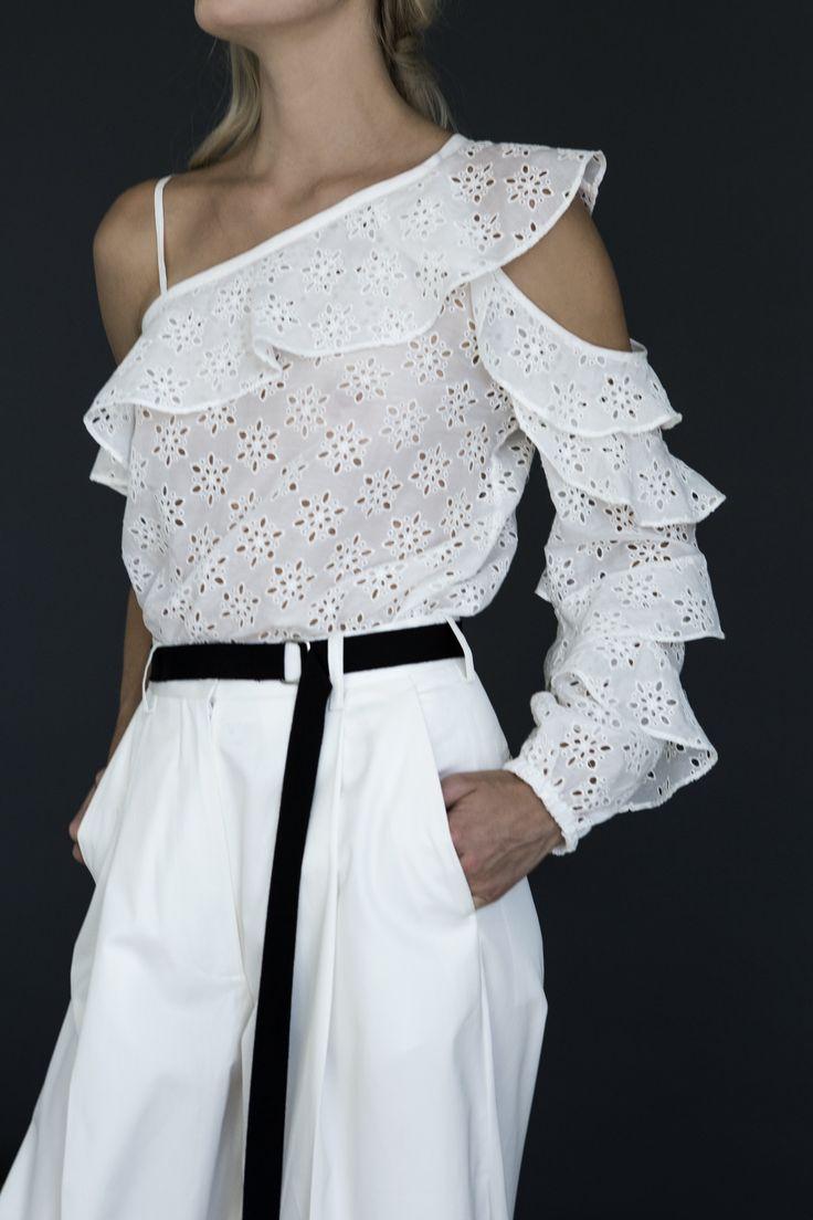 EYELET RUFFLE SHIRT   #robertrodriguez #lace #blouse #spring