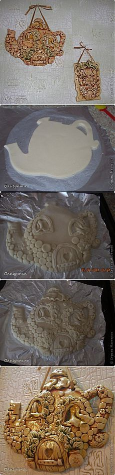 (+1) - Чайник с чашечками из соленого теста. Автор Оль.гунчик | СДЕЛАЙ САМ!