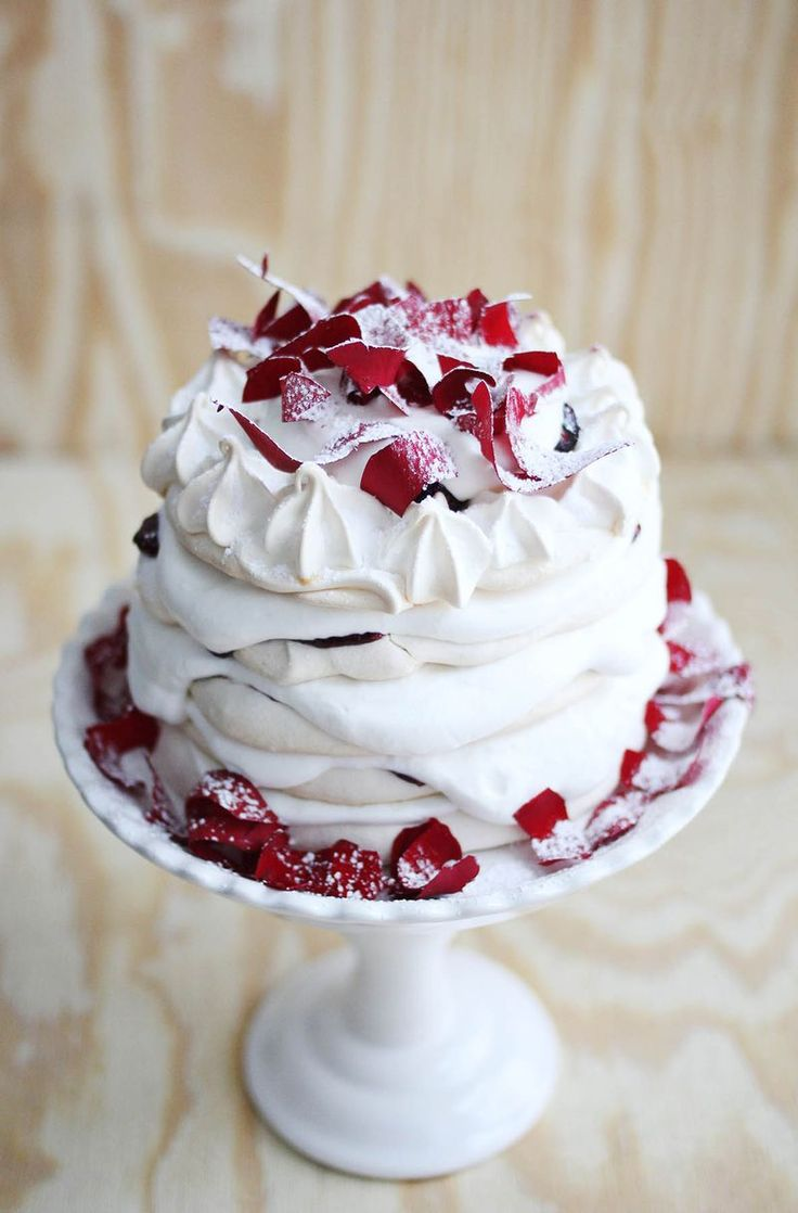 Pavlova + Rose Water Whipped Cream..would like with hibiscus syrup too..beautiful..nice for valentines or Christmas