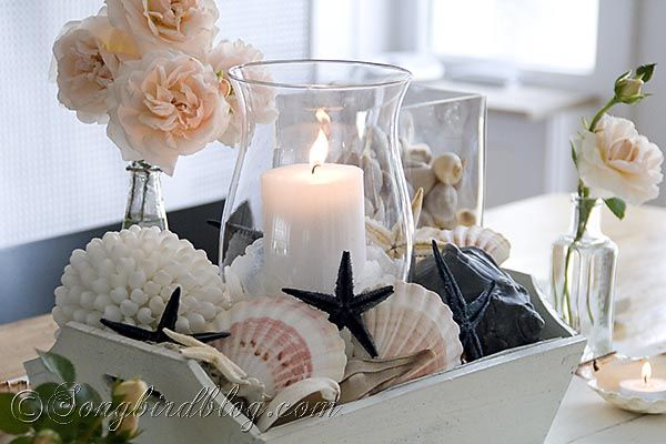 Roses, Shells and Sea Stars ~ Beach Vibe and Nautical Decor This (Or my version of pieces that I find) is going to look fantastic in my Cape Cod Style in Florida home!