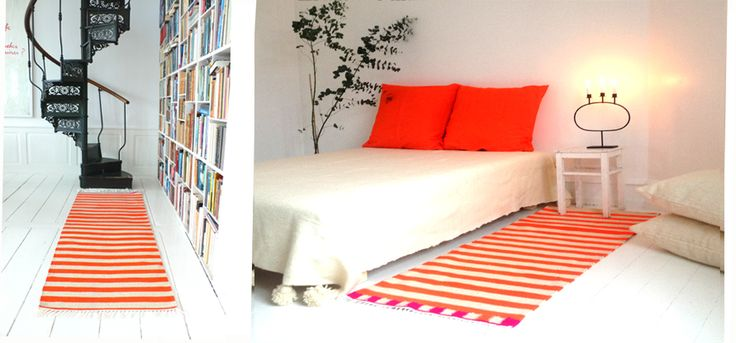 Handwoven runner rug, bedspread and cushions designed by kira-cph.com