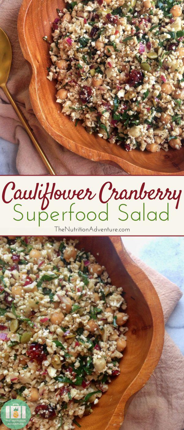 Cauliflower Cranberry Superfood Salad | The Nutrition Adventure
