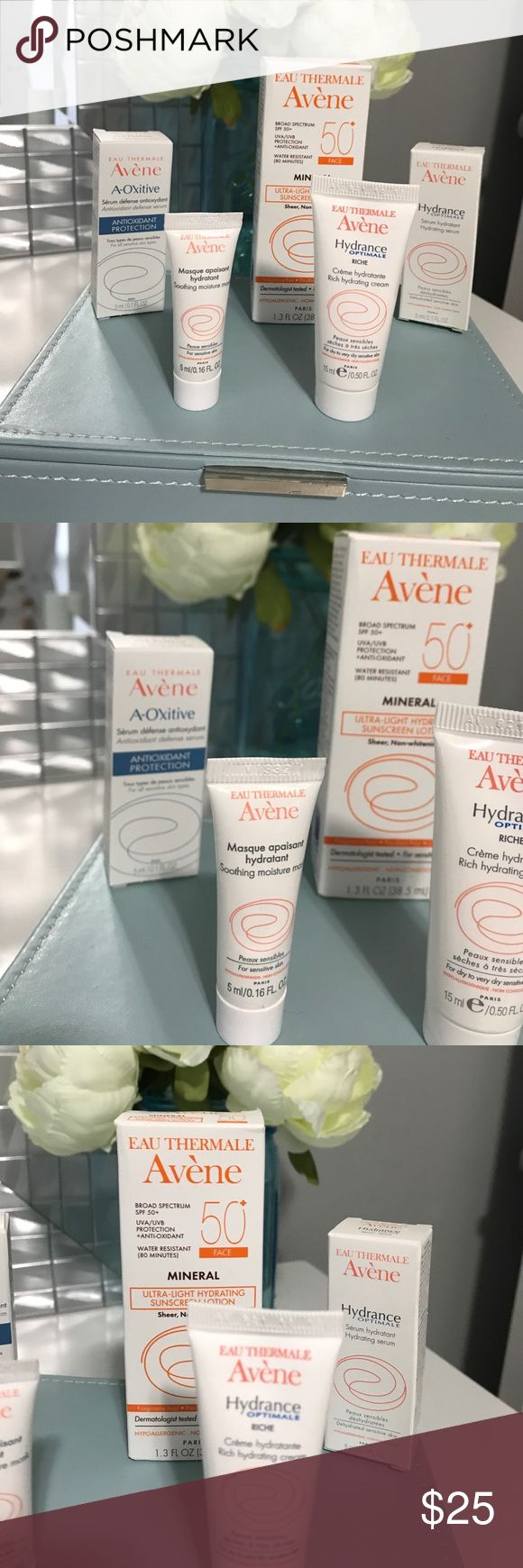 Eau Thermale Avene facial products New sample size/deluxe sample size products!  Antioxidant defense serum Soothing moisture mask Rich hydrating cream Ultra light hydrating sunscreen lotion  Hydrating serum Body oil eau thermale avene Makeup