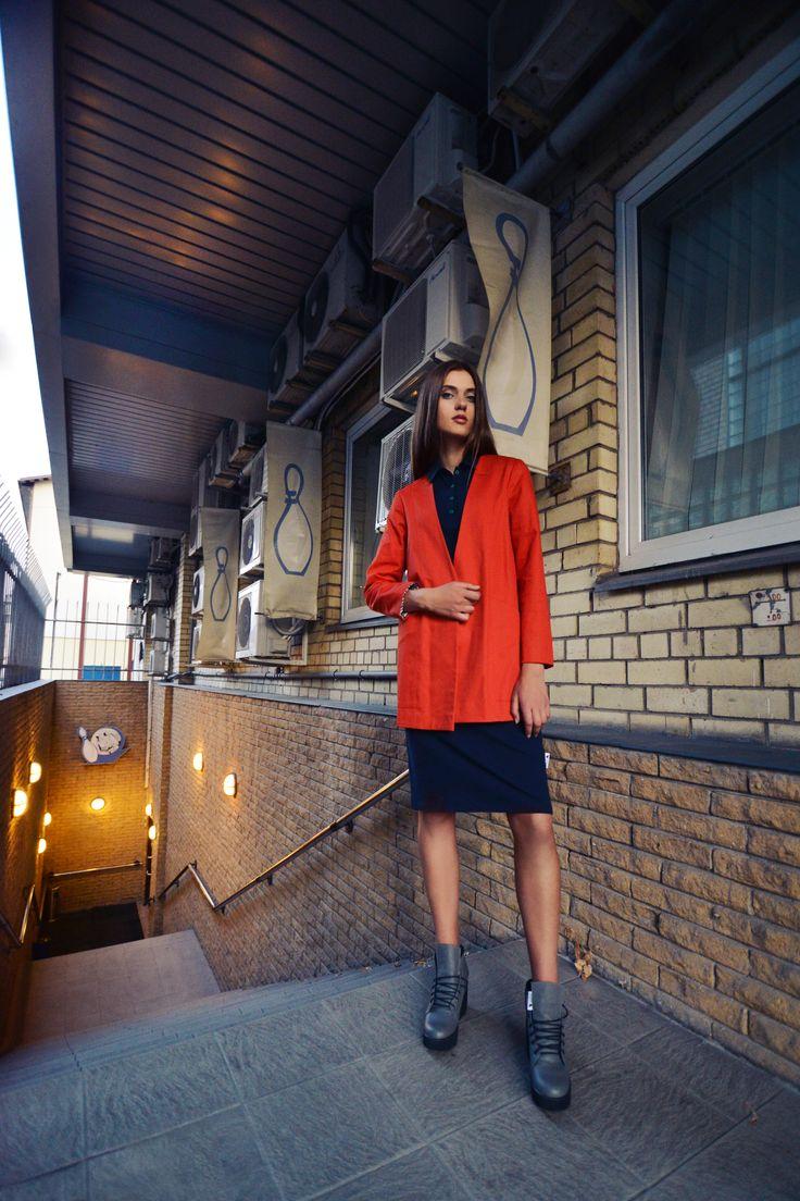 urban uniform #3 = uniform jacket in very red + uniform polo dress + industrial head shoes www.horseheadlabel.com