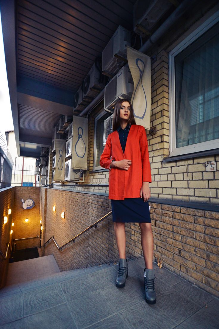 urban uniform #3 = uniform jacket in very red + uniform polo dress + industrial head shoes www.horseheadlabel.com
