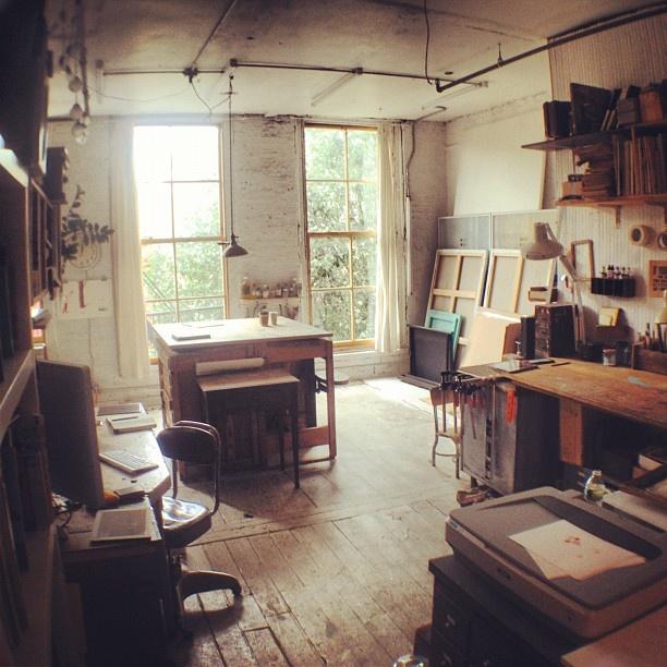 Oliver Jeffers' studio, Brooklyn #workspace #studio