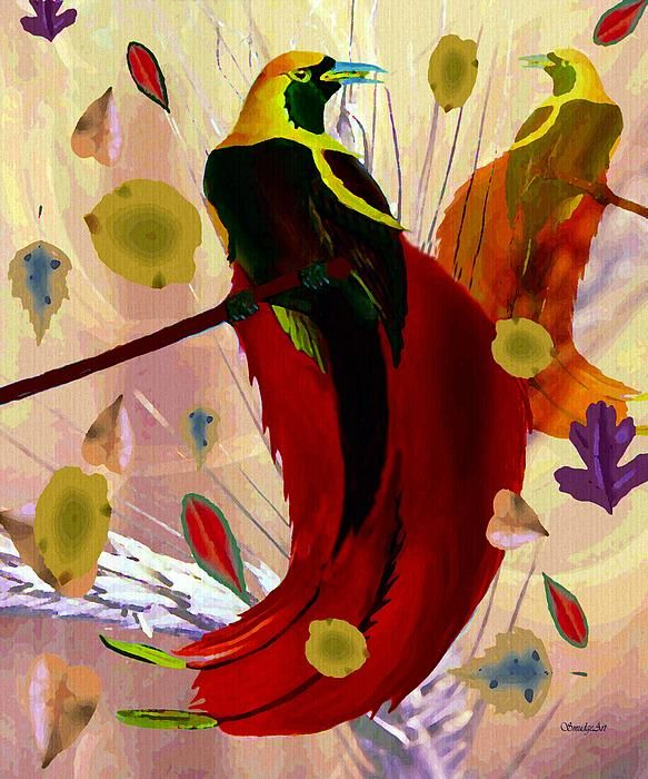"""A SmudgeArt contemporary digital hand drawn and oil painting of the beautiful vibrant """"Bird of Paradise""""."""