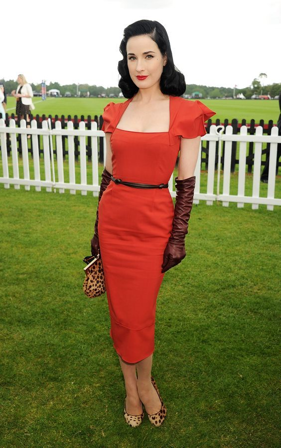 Celebrities at the races. Dita Von Teese