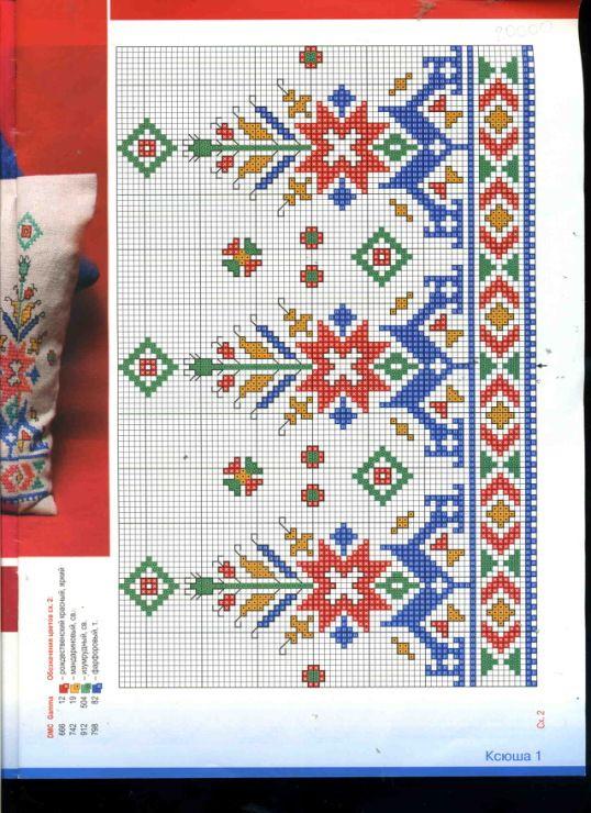 Kanaviçe hesap işi görünümlü bordür motif Kırlent runner