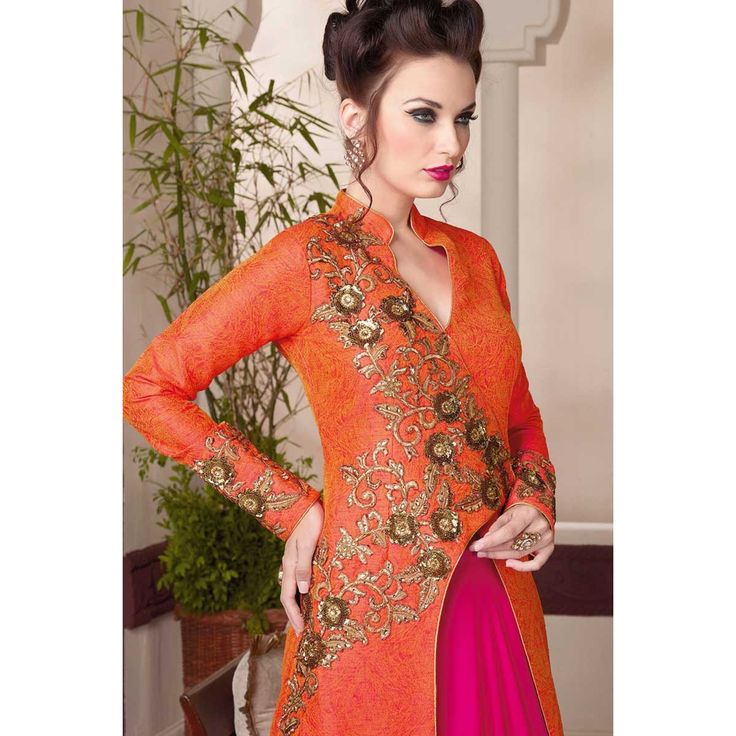 Orange and pink georgette semi stictch lehenga with art silk choli. This lehenga choli is embellished with resham, zari and stone.Product are available in 34,36,38,40 sizes. It is perfect for Party Wear, Wedding Wear, Bridal Wear, Festival Wear and Cer