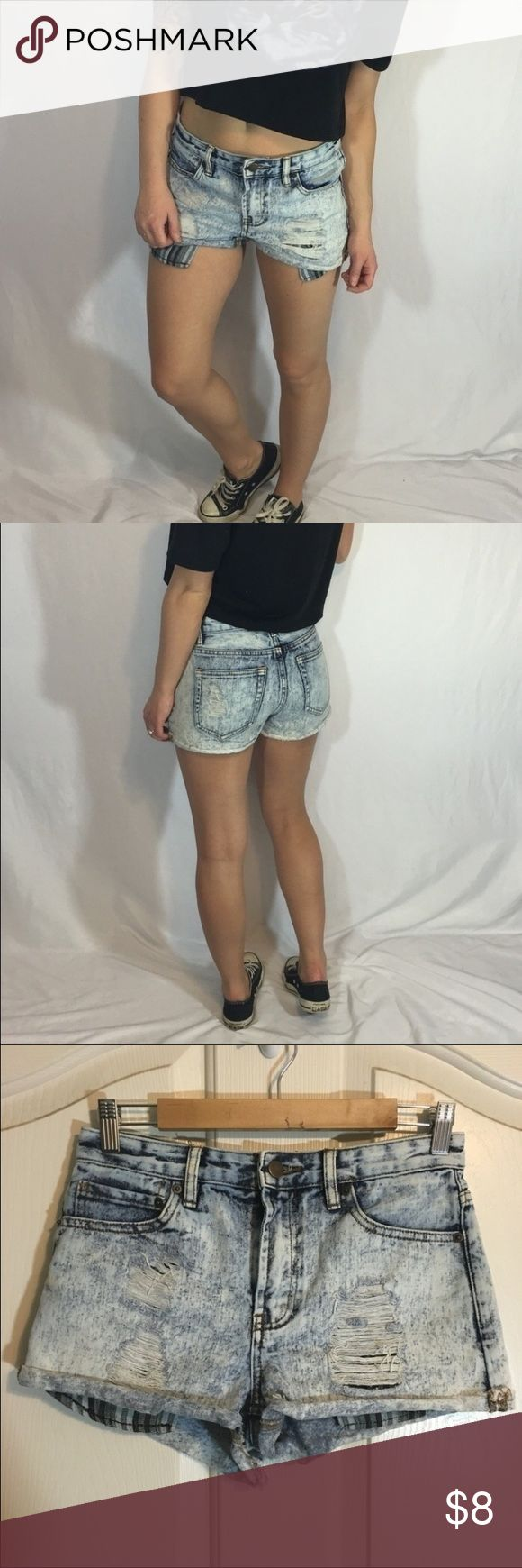 High Waisted Forever 21 Acid Wash Shorts Forever 21 acid wash denim high waisted shorts with cuff. Destroyed :: grungy vibe.  Gently worn, in good condition. Size 26. (Fits like a 2) Forever 21 Shorts Jean Shorts