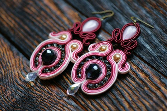 Pink and burgundy soutache with black faceted beads by NagualArt