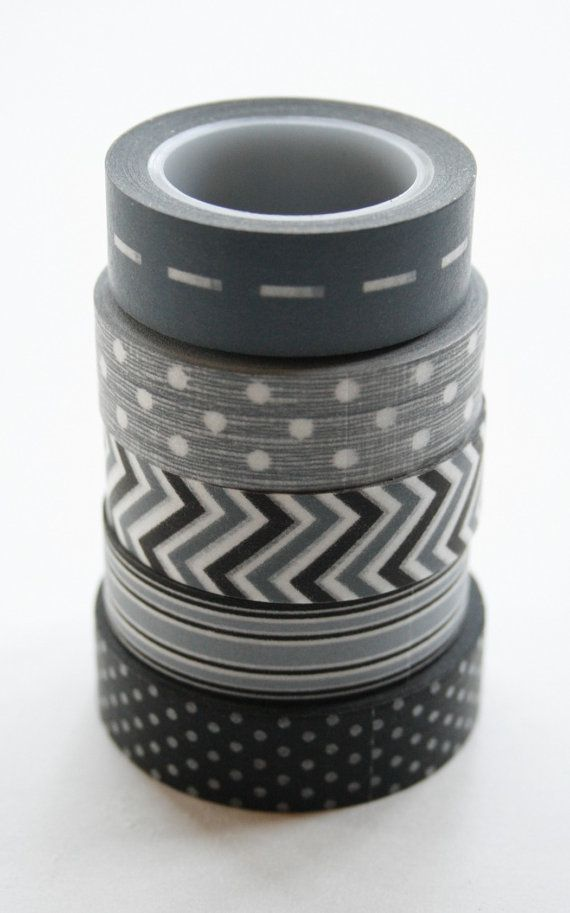 Washi Tape Set - 15mm - Combination AV - Grey and Black - Five Rolls Washi Tape