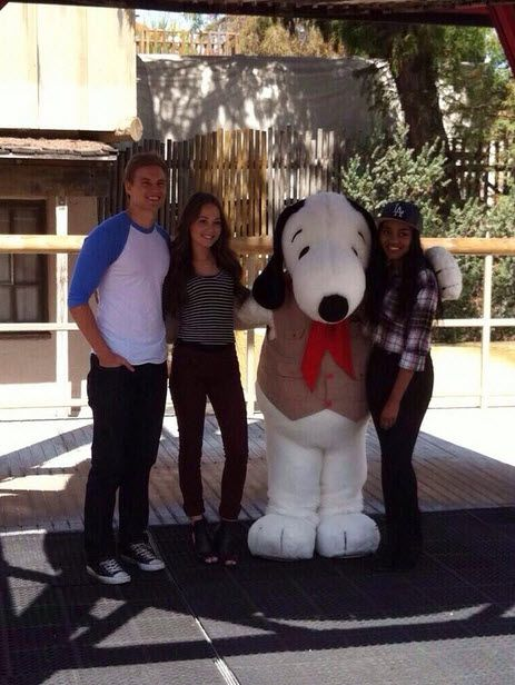 Kelli Berglund, China Anne Mcclain & Marshall Williams with Snoopy