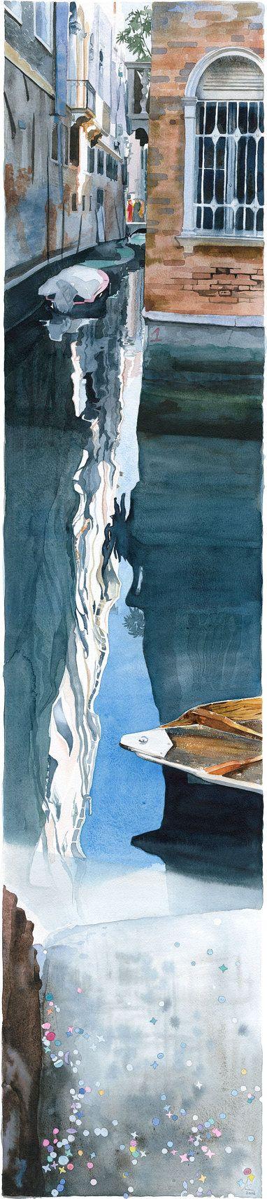 Watercolour Giclée print reflection on water by AnneliesClarke, £60.00