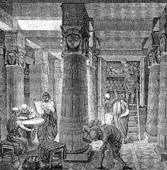 Bibliotheque d'Alexandrie. Beaucoup de savoirs perdus car volontairement détruits ( Jules César pour les copies destinées à être propagées, attaque musulmane 600 ans plus tard...) les manuscrits d'Aristote furent épargnés. L'incendie de la bibliothèque n'est pas confirmée.