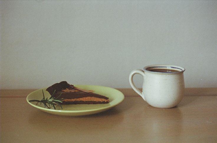 chocolate salted caramel tart & coffee