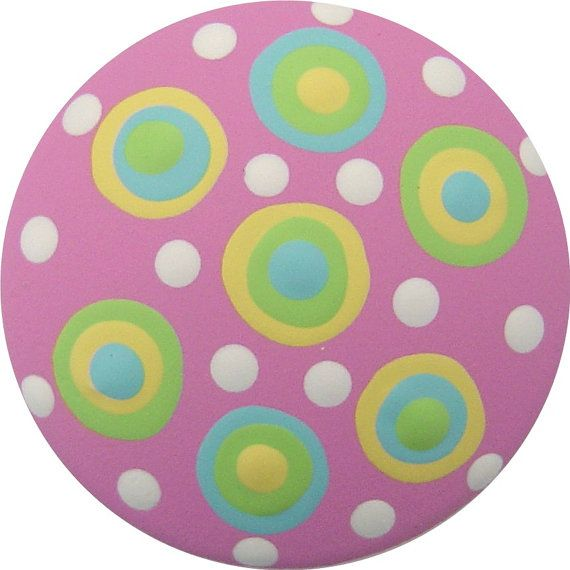 Pink Yellow Green and Blue  Polka Dots Hand Painted Wood Drawer Knob Pull Kids Decor