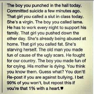 life inspiration quotes: An inspirational post about bullying