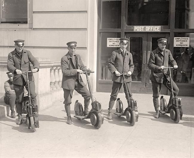 You are looking at an old image ofMailmen On Scooters. It was taken between 1911 and 1917 by Harris & Ewing.