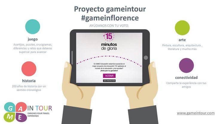 Ayúdamos con tu voto a conseguir #15minutosdegloria #gameinflorence http://15minutosdegloria.com/votos/ proyecto gameintour